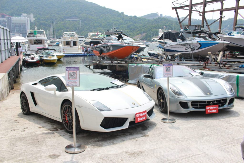 Local second-hand luxury car dealer GP Motors display at the Asia Yachting Weekend Brokerage Boat Show