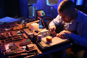 Dauchel craftsman handcrafting leather bookmarks at the MCY80 Launch Event held by Asia Yachting_1