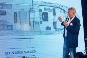 Nuvolari & Lenard Studio Partner and Designer of Monte Carlo Yachts Mr. Dan Lenard delivers speech at the MCY 80 Asia Launch Event_2