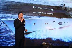 President of Asia Yachting Mr. Franklin Heng delivering a speech at the Monte Carlo Yachts 80 Asia Launch Event held by Asia Yachting